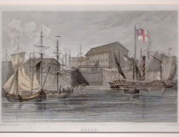 Old print of Goole docks from the river